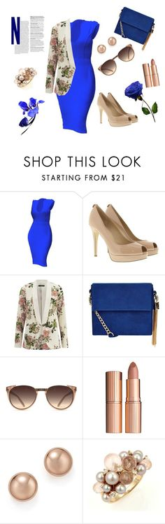 """lady in blue"" by seka-247 ❤ liked on Polyvore featuring MICHAEL Michael Kors, VILA, New Look, Linda Farrow, Charlotte Tilbury, Bloomingdale's and Mimí"