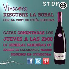 """""""¿Sabías que Utiel-Requena fue una de las primeras DOs de #vino de España en 1932 #madrid y que Bobal es una de las variedades más cultivadas de España para elaborar vino? descubre todo esto y mucho más el jueves en #madrid en Stop 66   Descúbrelo este jueves - en Stop 66  TODOS LOS JUEVES  ¡¡¡Primera copa de la cata GRATIS!!!  www.vinocora.com"""""""