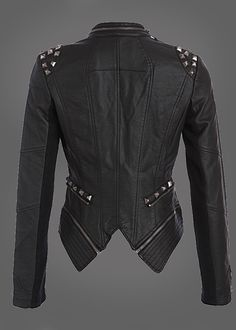 Pretty Attitude Rocking Cool Black Studded Punk Style PU Faux Leather Slim Fit Moto Jacket : Black Label $64.90 s