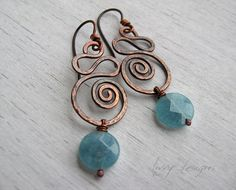 Swirly copper earrings with Angelite faceted flat by LivvyDesigns, #wirework
