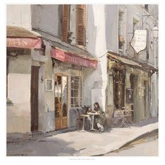 Morning coffee, Montmartre, Paris - Print by David Curtis - Surrey Art