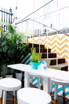 Award Winning, Creative, Modern & Innovative, Garry Cohn knows design. If you're looking for a quality interior designer then look no further. Garden Cafe, Terrace Garden, Painted Stools, Bar Interior Design, Beach Bars, Outdoor Furniture Sets, Outdoor Decor, Herringbone Pattern, Pattern Ideas