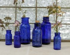 6 Cobalt Blue Bottles / Blue Medicine Jars by ConceptFurnishings, $36.00
