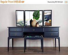 SOLD SOLD Stag Minstrel Dressing Table with triple mirror/ Sideboard/ Console/ Chest of Drawers – Decorating Foyer Blue Dressing Tables, Dressing Table With Drawers, Vintage Dressing Tables, Dressing Table Mirror, Dressing Room, Mirrored Sideboard, Dining Room Sideboard, Console, Credenza