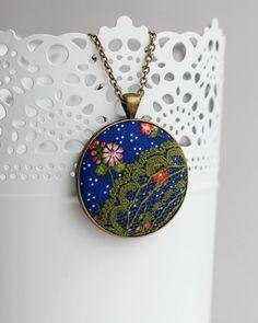 Lace Imprimir Floral Boho Colar, Moss Colar do laço verde, azul Bolinhas Flowers Red Cobalt Blue Pendant Hippie Jóias
