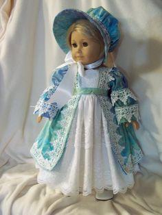 Turquoise Marble Regency style dress w/bonnet by Lillianloydesigns