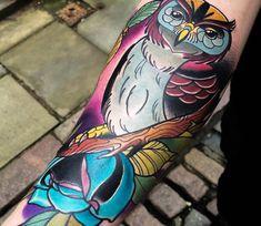 Owl tattoo by Matt Webb
