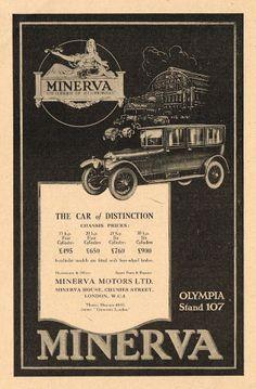 1923 Old Vintage Original MINERVA Motors Automobile CAR Art Print AD