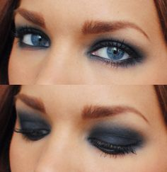 smokey - it's a little solid for my taste, I love a well balanced eye with a lot of dimension in it - so at least a 5 color eye - but this works for her eye color and I do like the way they worked the under eye.  It's well done. :)