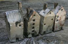 Raku, small houses with chimneys. Mark Strayer, North Star Pottery