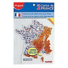 2 cartes de France de traçage MAPED Régions Départements et Fleuves : Chez Rentreediscount Fournitures scolaires