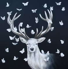 'Stay True', Oil and Acrylic on Canvas, 80x80x2cm (2012) by Louise McNaught  This piece is symbolic of inner strength, transformation and being true to yourself. I feel I have recently gone through a period of growth and learning, and though it has been painful the learning curve has taught me to be true to myself…It has also been commented that this piece reminds people from a scene in the film Snow White and the Huntsman when she meets the Forest God - a giant white stag which