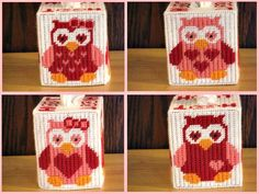 Valentine Owls Tissue Box Cover, Home Decor, Plastic Canvas, Gift For Her, Needlepoint Owl, Hoot Hoot, Red Pink Hearts  Valentine Owls Tissue Box Cover. This will make a perfect Valentines gift. There are four different design owls on all sides of tissue box cover. On top it says HOOT HOOT. Colors: White, Orange, Perfect Pink, Black and Red. I used: worsted weight acrylic yarn and plastic Canvas.  Fits a standard boutique size tissue box. Box of tissue not included.  Item Care: Wash by hand…