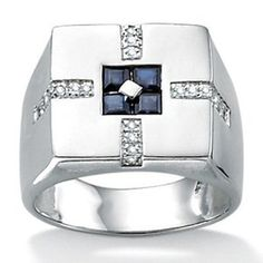Palm Beach Jewelry Sterling Silver Men's Blue Sapphire Ring