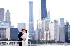 Skyline portrait of the Bride and Groom. #Wedding #ChicagoWedding #WeddingPhotography #Photography #Bride #Groom #WeddingDay #DowntownChicago #IllinoisWedding #WeddingParty #Skyline #ChicagoSkyline #Kiss #Portrait