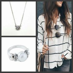 Get the Look  in this enviable Street Style with our Swarovski Solitaire necklace and our NEW Diana Pearl ring.  I know right?! These two pieces are in my Top Ten...maybe even Top 5. They will definitely get heavy wear in your jewelry rotation!! :) #justsaying #jewelry #eSBeDesigns #jotd #Designer #Fashionista #HelloBeautiful #WOWFactor #pursuepretty (photo: Pinterest) SHOP: www.esbedesigns.com/Pam ID#246237