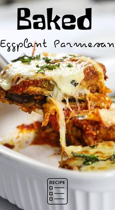 A classic Baked Eggplant Parmesan with breaded eggplants, marinara sauce, and hot bubbling mozzarella and parmesan. It's the ultimate Italian comfort food. #baked #bakedeggplant #eggplantparmesan #dinner #parmesan Easy Dinner Recipes, Gourmet Recipes, Breakfast Recipes, Vegetarian Recipes, Cooking Recipes, Healthy Recipes, Dinner Ideas, Easy Meals, Baked Eggplant