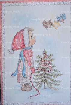 Vintage Betsey Clark Christmas Card  Girl by Pumpkintruckpaper