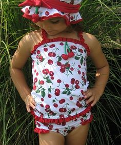 This White & Red Cherries Ruffle One-Piece - Infant & Girls by Chichanella Bella is perfect! #zulilyfinds