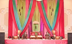 Indian wedding stage. Just love the colors and the texture of this setup!