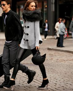 leather leggings + cozy sweater @Stephanie Greer Bruksch I think you need some leather leggings for your skinny legs and NYC!