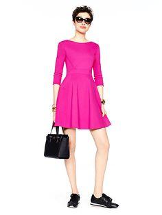 ponte flirty back dress