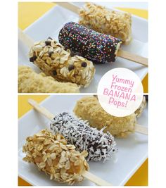 Yummy Frozen Banana Pops, easy to make a a tasty summer treat that your whole family will love! @Steph :: Modern Parents Messy Kids #summertreat
