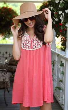 always sunny floral tank dress - coral