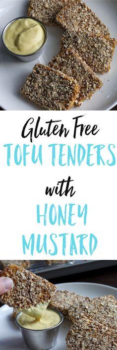 Gluten Free Tofu Tenders with Honey Mustard Sauce - tender crust made from oats & flax seeds, & served alongside a greek yogurt sauce. via @euphorianutr