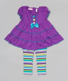 Look at this #zulilyfind! Purple Tiered Tunic & Stripe Leggings - Infant, Toddler & Girls #zulilyfinds