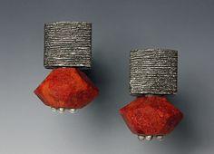 """Sponge Coral Nugget"" - silver & stone earrings - Susan Barth"