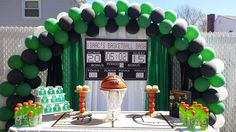 Awesome dessert table at a Boston Celtics basketball birthday party! See more party planning ideas at CatchMyParty.com!
