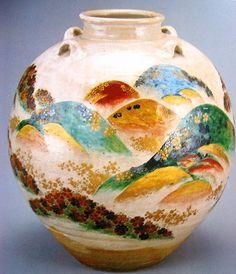 色絵吉野山図茶壺