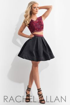Rachel Allan 4114 Red/Black Homecoming Dress