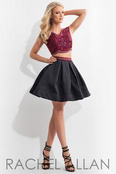 Rachel Allan 4114 Red/Black Homecoming Dress