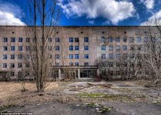 Chernobyl's Abandoned Hospital: Trees have started to grow in front of the hospital's entrance years after the radiation damaged their sense of orientation, leaving them to grow crooked in all directions