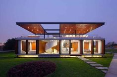 This modern weekend foot house in Asia, Peru designed by Jorge Marsino Prado was inspired by Le Corbusier's Maison Domino. The building Container Home Designs, Roof Architecture, Residential Architecture, Building Design, Building A House, Building Ideas, Design Exterior, Casas Containers, Architect House