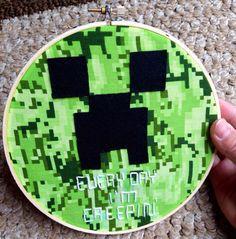 Free Shipping Minecraft Inspired Wall Art-Hoop Art, Minecraft Room, Minecraft Birthday, Creeper Birthday, Enderman, Quote Art, Comic Con on Etsy Minecraft Posters, Minecraft Room, Quote Art, Art Quotes, Creepers, Hoop, Bedrooms, Free Shipping, Wall Art