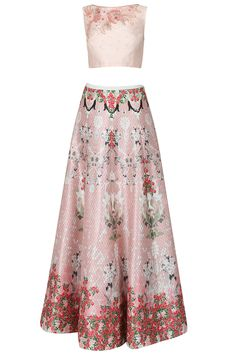 Varun Bahl presents Pink floral thread and beads embroidered crop top and floral printed lehenga set available only at Pernia's Pop Up Shop.