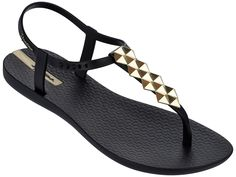 THE BRAZILIAN SANDAL From Rio de Janeiro. Inspired by Ipanema, one of the world`s most exotic beaches in Rio and made in Brazil. You will see Ipanema sandals on celebrities such as Angelina Jolie, Halle Berry, Kate Hudson andAshton Kutcher. Gold Flat Sandals, Gold Flats, Ankle Wrap Sandals, T Strap Sandals, Shoes Sandals, Fly Shoes, Strappy Sandals, Black And Gold Shoes, Black Flats Shoes