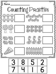 First Grade Math Unit Number Sense, Counting Forward, Ten Frames (and more! Kindergarten Math Worksheets, Preschool Learning, Preschool Activities, Kindergarten Addition, Numbers Kindergarten, Numbers Preschool, Free Preschool, Teaching, Math Numbers