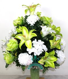 Artificial flower arrangement red white in pot for gravememorial xl beautiful lime green lilies and roses cemetery flower arrangement for a 3 inch vase mightylinksfo