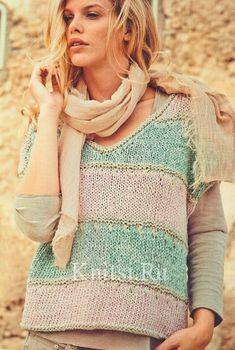 Пуловер без рукавов с цветными полосами