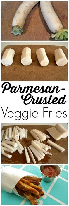 These parmesan-crusted Veggie Fries are PERFECT for the vegetable-hater in your life.  Who can say no to cheese-crusted vegetables?! This is an outstanding recipe that can be used with a variety of vegetables. A healthy dinner side dish. Low Carb Recipes, Vegetarian Recipes, Cooking Recipes, Healthy Recipes, Daikon Recipe, Healthy Dinner Sides, Zucchini, Radish Recipes, Low Carb Veggies