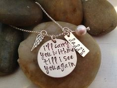 Memorial Jewelry - I'll Carry You With Me Till I see you Again - Hand Stamped -Personalized - Bridal Bouquet Charm