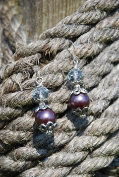 Western Rodeo Cowgirl Earrings  Plum Pearls by SolisOccasusBling