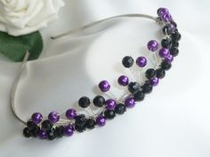 Handmade Bridal Goth - Purple & Black Crystal Silver Tiara headband