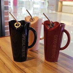 Minimalistic Ladies Ceramic Drinking Mug with Straw and Spoon Milk Shakes, Modern Square Coffee Table, Kitchen Necessities, Baby Boy 1st Birthday, Tea Pot Set, Cool Mugs, Ceramic Mugs, Moscow Mule Mugs, Favors