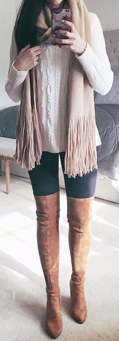 #winter #fashion /  White Knit / Cream Fringe Scarf / Dark Skinny Jeans / Brown OTK Boots