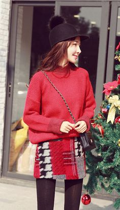 Fashiontroy Street style long sleeves turtleneck red two-tone ribbed-knit sweater